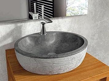 bathco – bathco Waschbecken auf Waschtischplatte Stein Santorini ... | {Waschtischplatte stein 55}