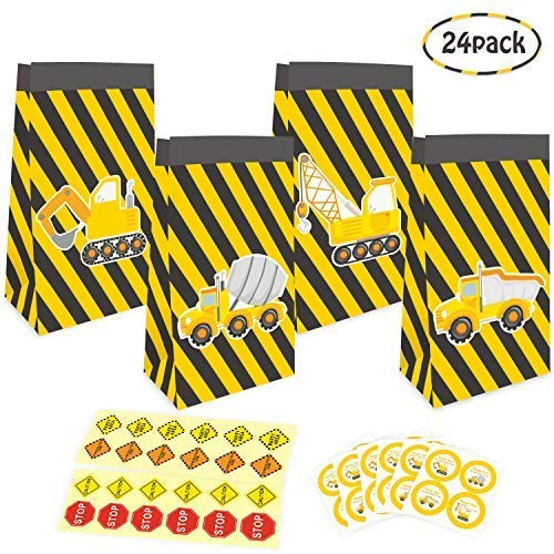 Construction Theme Goodie Favor Bags with Thank You Stickers,Truck Themed Candy Treat Bags Gift Bags for Kids Boys, Theme Party Supplies Decorations, Set of 24 -