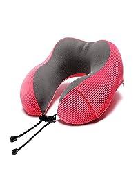 Almohada para cuello de viaje, Almohada para avión en forma de U, Diseño ergonómico de espuma de memoria Transpirable Cómodo para oficina Inicio Camping Coche Niños Niños-red