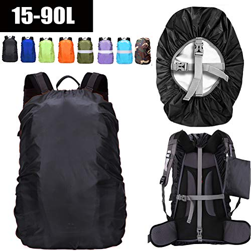 ZM-SPORTS 15-90L Upgraded Waterproof Backpack Rain Cover,with Vertical Adjustable Fixed Strap Avoid to Falling,Gift with Portable Storage Pack (Black, S(for 15-25L Backpack)