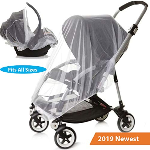 (Car Seat Stroller and Crib Mosquito Net Cover White)