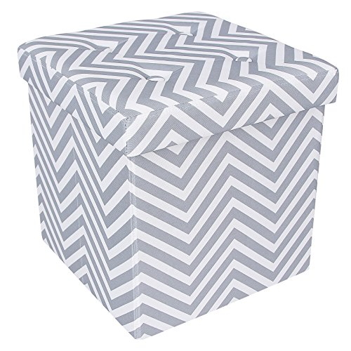 SONGMICS Chevron Tufted Storage Ottoman Footrest 14 7/8