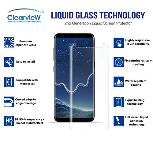 Clearview Samsung Galaxy S8 Liquid Tempered Glass Screen Protector - 9H Ultra Clear HD Japanese Glass, Full Screen Edge Coverage, Easy Install, Loca UV Light, Case Friendly (Full Kit) by Clearview (Image #1)