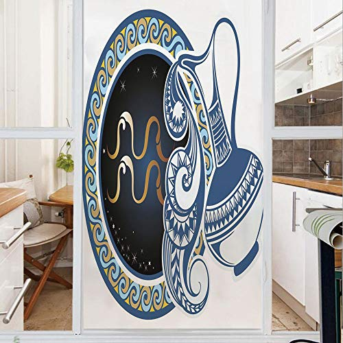Decorative Window Film,No Glue Frosted Privacy Film,Stained Glass Door Film,Image of Aquarius Sign with Jug and Circular Globe World Form on Background,for Home & Office,23.6In. by 35.4In Blue Gold
