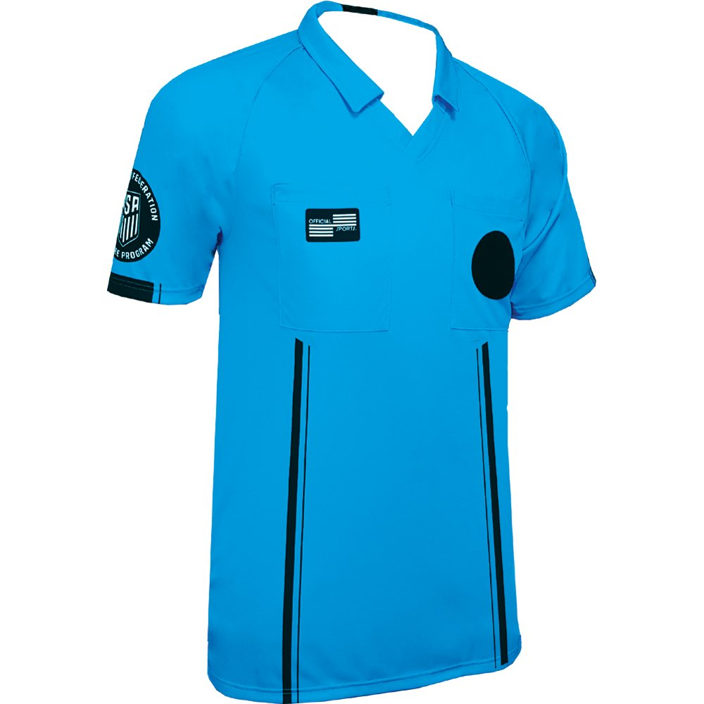 New USSF Men's Economy Soccer Referee SS Shirt (Small Blue) Official Sports