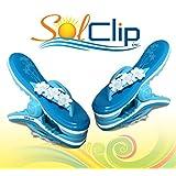 Beach Towel clips, pegs, clothespins, épingles, pinces à serviette de plage, SolClip Canada, Flip Flop Flowers
