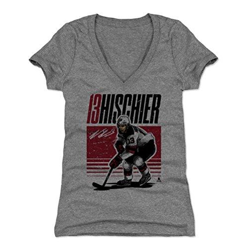 - 500 LEVEL Nico Hischier Women's V-Neck Shirt (X-Large, Tri Gray) - New Jersey Devils Shirt for Women - Nico Hischier Starter R