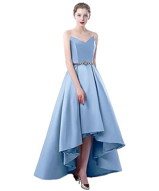 68311b49a3b3 Qiuqier Donna Vestiti da Cerimonia Abito da Sera Elegante Senza Spalline   Amazon.it  Abbigliamento