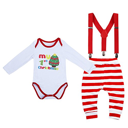 FYMNSI Unisex Baby Boys Girls It's My 1st Christmas Birthday Outfits Xmas Romper Suspenders Long Stripe Pants 3-6 Months