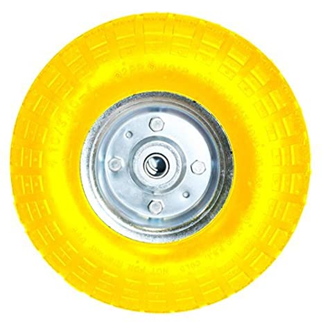 10' YELLOW SACK TRUCK TROLLEY SOLID RUBBER REPLACEMENT WHEEL TYRE STEEL RIM HAND BARGAINS-GALORE