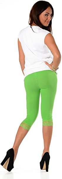 Damen bequeme Leggins Baumwolle blickdicht 3//4 capri gelb Gr M-XXXL Leggings