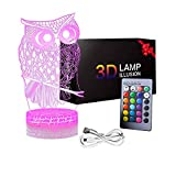 3D Owl Night Light, 3D Illusion Lamps Table Desk Night Light Holiday Birthday Xmas Gifts Ideas for Kids Boys Girls Toys Age 3-10 Year Old Gifts Owl