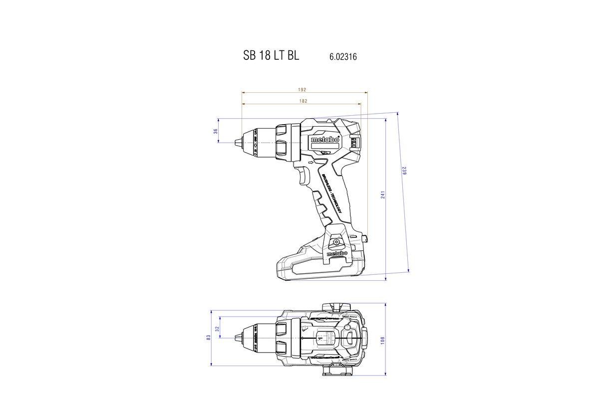602316840 Akku-Schlagbohrmaschine I 18V; Metaloc I B/ürstenlose Schlagbohrmaschine I f/ür universelle und anspruchsvolle Arbeiten Metabo 602316840 SB 18 LT BL