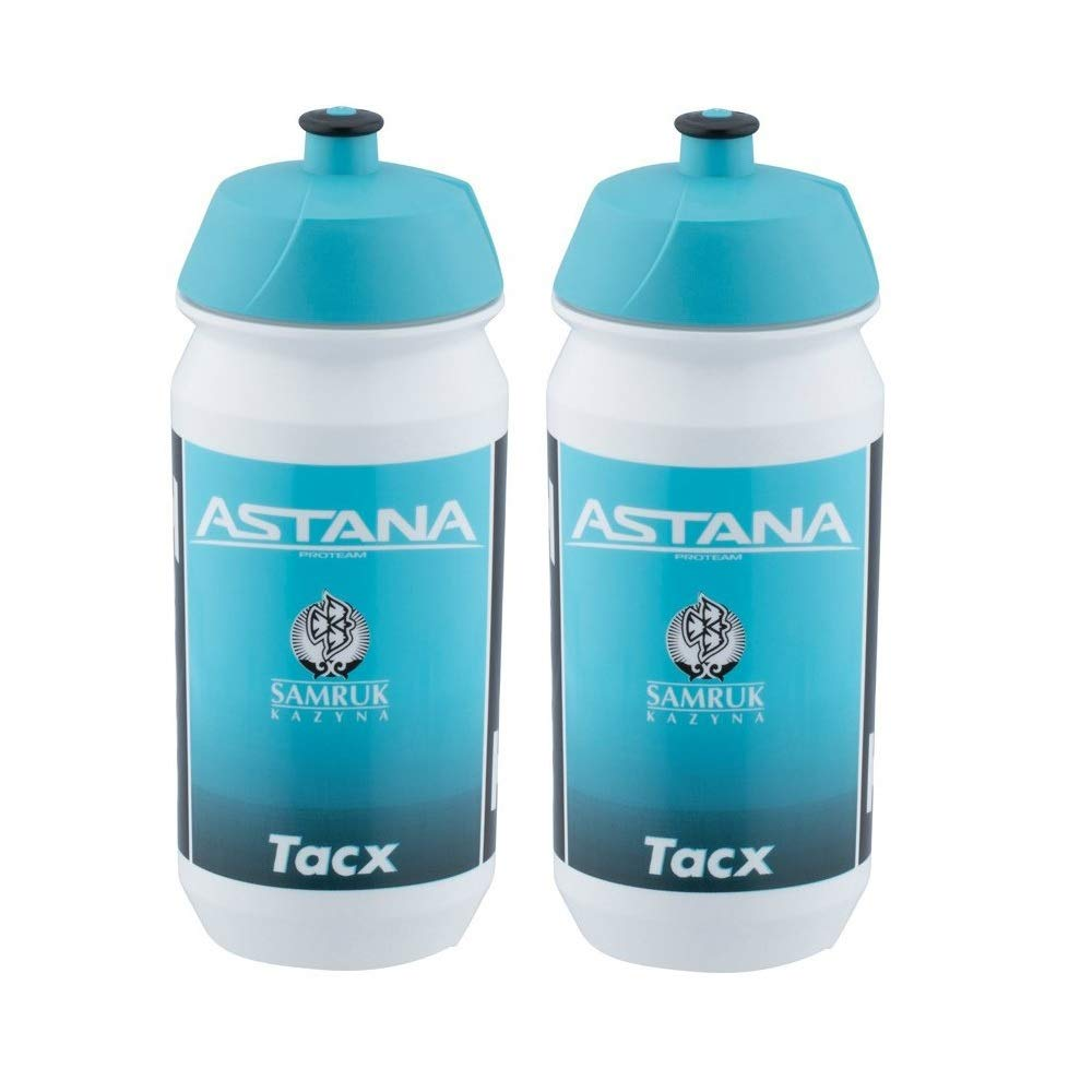 Tacx Shiva Pro Team Cycling Water Bottles - 500ml, Astana 2019 (2 Pack) by Tacx Cycling