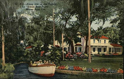W. P. 9 - Along one of the Canals by Scenic Boat Tours Winter Park, Fla Original Old-time Postcard