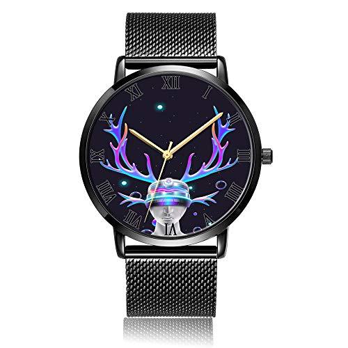 Whiterbunny Customized Shiny Elk Portrait Wrist Watch Unisex Analog Quartz Fashion Black Steel Bracelet Wristwatch for Women and Men (Elk Portrait)