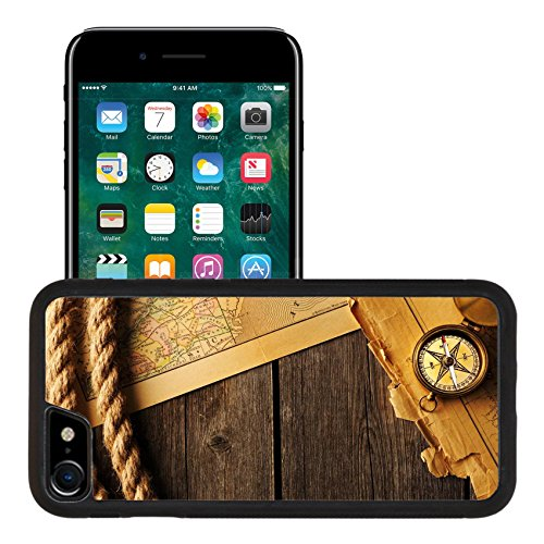 Liili Apple iPhone 7 iPhone 8 Aluminum Backplate Bumper Snap iphone7/8 Case Antique brass compass and rope over old map Photo 19837449