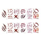 BCP 12 Sheets Realistic Fake Bleeding Wound Body Scar Tattoo Temporary make up Stickers for Halloween Party Cosplay