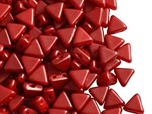 50pcs Khéops Par Puca Beads - czech pressed glass beads of triangular shape, with two holes, 6 mm, Pastel Dark Coral