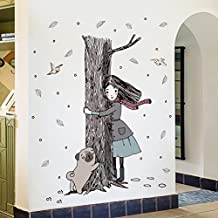 New Nordic style art girl hold trunk wall decoration sticker PVC removable applique