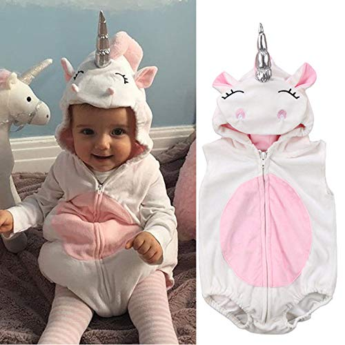 Loune Week Baby Bouncer Toddler Newborn Unicorn Baby Girls Fleece Romper Jumpsuit Jumper Outfits Costume