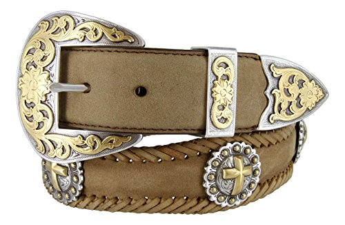 "Gold Christian Cross Conchos Western Leather Scalloped Belt 1 1/2"" wide"