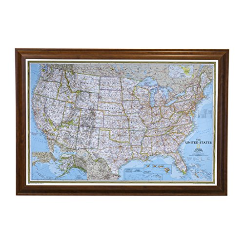 Push Pin Travel Maps Classic US with Brown Frame and Pins - 27.5 inches x 39.5 inches