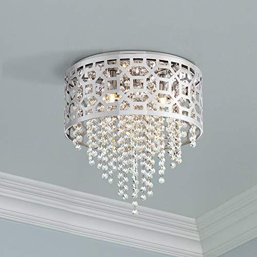 Corrina Modern Ceiling Light Flush Mount Fixture Openwork Chrome 12 3/4
