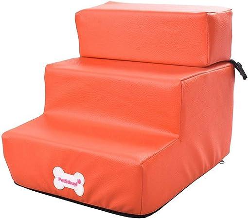 Desmontables Escaleras para Mascotas,Malla Transpirable para Mascotas Plegables Camas para Mascotas Escalera 2 peldaños Ayuda para la Movilidad de Razas pequeñas para Perros de Edad Avanzada,Naranja: Amazon.es: Hogar