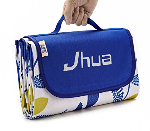 Jhua Waterproof and Sandproof Large Picnic Mat Foldable Large Moistureproof Camping Picnic & Beach Blanket for Outdoors/ Travelling/ Camp (Leaf Blue) (Target Outdoor Blanket)