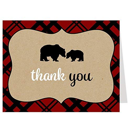 Lumberjack Thank You Cards Baby Shower Bears Folding Thank You Notes Sprinkle Birthday Event Party Tan Red Plaid Rustic Mama Bear Baby Bear (24 count)