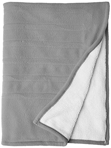 Serta | | Reversible Sherpa/Fleece Heated Electric Throw Blanket, Gray