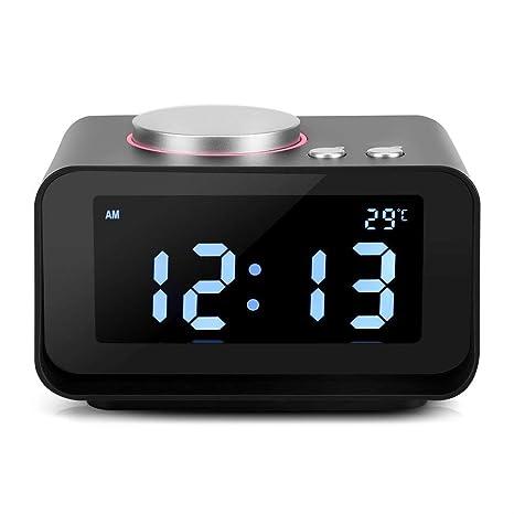 Reloj Radio Despertador Digital Pantalla LCD Despertador Radio FM con Altavoz Función Dual USB Puertos de