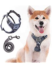 AIR Dog Harness Leash Set, Puppy Leash Harness, No-Choke Dog Harness, Mesh Dog Harness, Comfortable Dog Harness, Plus 4 ft Reflective Dog Leash with Padded Handle, Small, Camouflage Grey