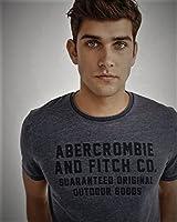 (アバクロンビー & フィッチ) Abercrombie & Fitch Tシャツ 半袖 メンズ ヴィンテージ グラフィック ロゴプリント ダークグレー 2383