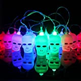 Elufly Indoor Outdoor Cute Animal Ornaments Battery Operated 10 LED String Lights Birthday Party Wedding Christmas Tree Halloween Decorative Lights (3.2m 16LEDs, skull)