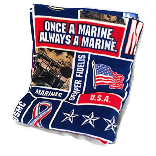 lovemyfabric Fleece Printed United States Marine Corps Print Blanket 58 Inch By 36 Inch ()