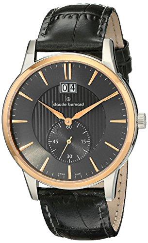 Claude Bernard Men's 64005 357R GIR Classic Gents Analog Display Swiss Quartz Black Watch