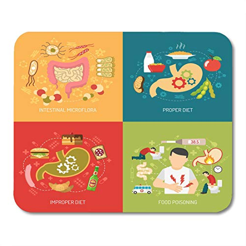 Nakamela Mouse Pads Bacteria Food Digestion Concept with Intestinal Microflora and Proper Diet Symbols Flat Stomach Pain Mouse mats 9.5
