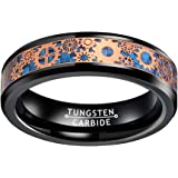 Wow Jewelers 6mm 8mm Black Silver Red Blue Tungsten Rings for Men Women Wedding Bands Steampunk Gear Wheel Carbon Fiber Inlay
