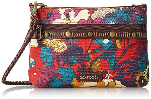 Sakroots Artist Circle Campus Mini Cross Body Bag, Crimson Flower Power, One Size