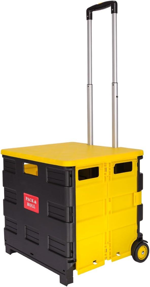Pre & mium 35 kg carrito de la compra plegable con tapa plegable ...