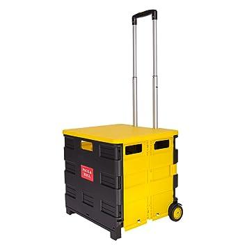 topg Ecomoods plegable para la compra carrito Práctico compra Aluminio Plástico Cestas de la compra con ruedas de hasta 35 kg, Schwarz-Gelb mit Deckel, ...