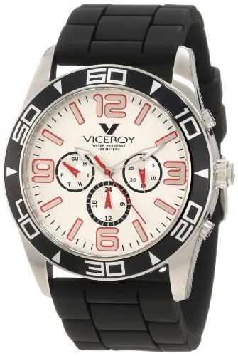 Viceroy Men's 40351-75 Red Day Date Black Rubber Watch