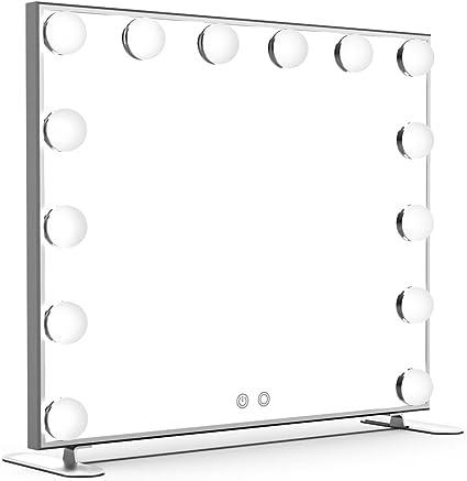 Trois Temp/ératures de Couleur Grand Miroir Lumineux avec 12 Ampoules LED R/églable Miroir Maquillage Hollywood pour Coiffeuse Design de Rotation R/églable /à 360 /° 35,5 x 47,3cm
