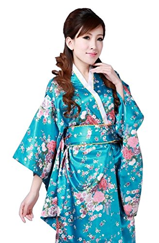 Cns Kimono Robe Blue Cherry Blossoms Design Japanese
