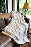 DaDa Bedding Home Fashion Super Soft Smooth Throw Blanket Luxury White Roses Faux Fur with Sherpa 63x87
