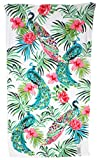 Caro Home 40 x 70 Tropical Peacocks with Flowers & Fronds On White Background Beach Towel
