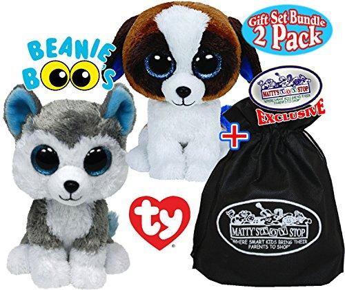 Ty Beanie Boos  Dogs  Duke   Slush Gift Set Bundle With Bonus  Mattys Toy Stop  Storage Bag   2 Pack