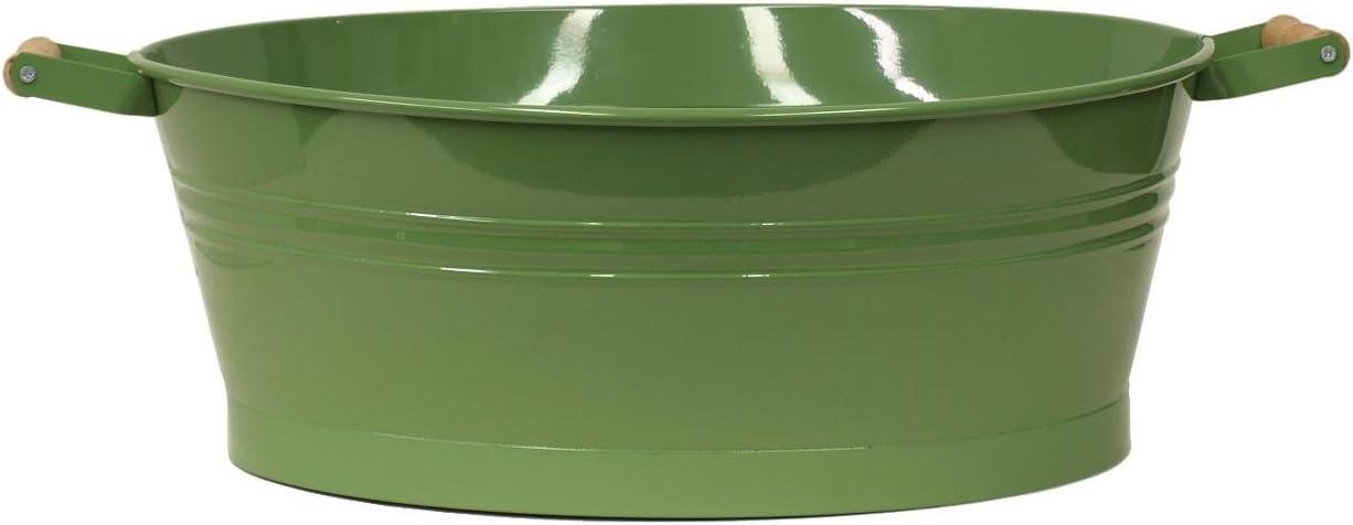 HiT 6090E SA Enameled Galvanized Oval Planter, Sage Green